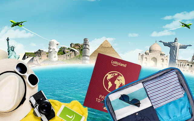 Lottoland branded passport surrounded by famous landmarks from around the world to represent Lottoland's Passport to Paradise promotion