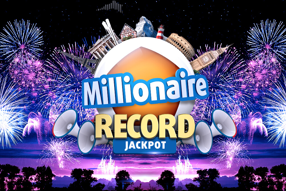 Text saying 'Millionaire record jackpot' against a background of fireworks exploding in the night sky